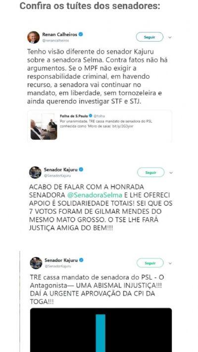 Calheiros sugere uso de tornozeleira a senadora cassada; ela revida