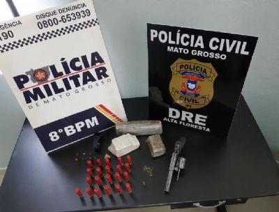 Trabalho integrado prende dupla por tráfico de droga e porte ilegal de arma de fogo