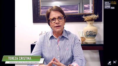Brasil é o único país que consegue produzir e preservar, diz Tereza Cristina