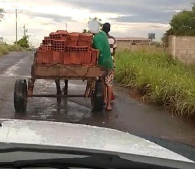 Em flagrante, dupla é pega furtando 500 tijolos em carroça