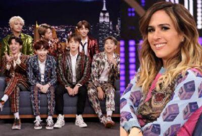 """Tatá Werneck tenta entrevista com BTS e fãs vibram: """"Pararia o Brasil"""""""