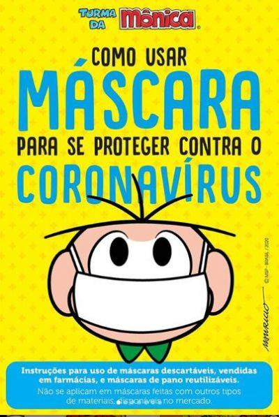 Turma da Mônica desenvolve cartilha para uso correto de máscara na pandemia