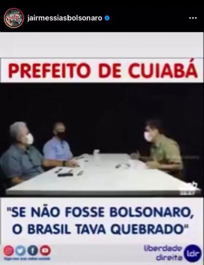 Vídeo | Prefeito é destaque no Instagram de Bolsonaro