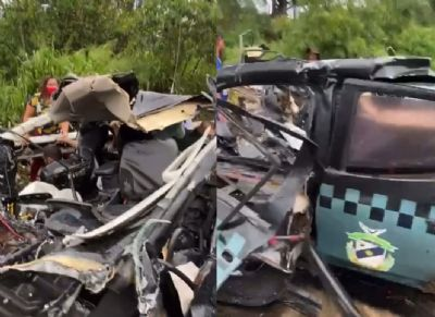 Vídeo | Grave acidente envolvendo viatura da Sesp deixa dois policiais mortos na BR-163
