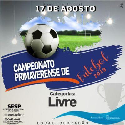 Inscrições para o 28º Campeonato Primaverense de Futebol estão abertas