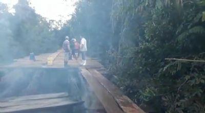 Ponte é incendiada e deixa moradores de assentamento em Alto Paraguai ilhados; veja vídeo