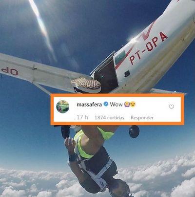 Grazi Massafera elogia salto de paraquedas de Caio Castro